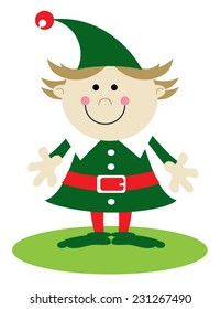 Girl Christmas elf dressed in green