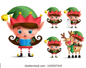 Girl christmas elf vector character set. Little kid elves with green costume singing christmas song and playing isolated in white background. Vector illustration.