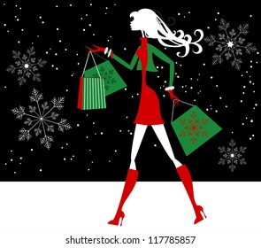 Girl Christmas Shopping in Snow