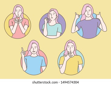 The girl in the circle has a variety of expressions. hand drawn style vector design illustrations.