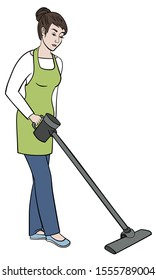 Girl cleaner cleans with a vacuum cleaner. Young woman in an apron holds a vacuum cleaner. Housewife is doing the hoovering. Vector  illustration drawings on a white background
