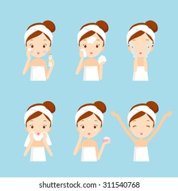 Girl cleaning and care her face with various actions, facial, treatment, beauty, healthy, hygiene, lifestyle, set
