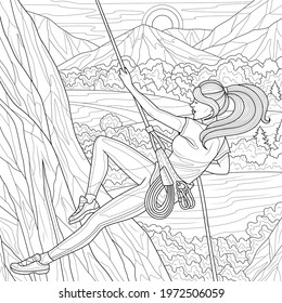 Girl climber climbs the mountain.Coloring book anti stress design for children and adults. Illustration isolated on white background. Hand draw Zen-tangle style.