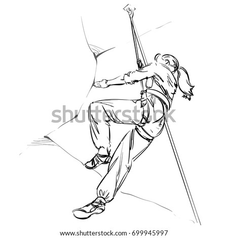 girl climber on rock alpinist equipment stock vector royalty free Mount Vinson an alpinist with equipment a mountaineer woman vector illustration freehand monochrome drawing extreme sport realistic style sketch young athlete