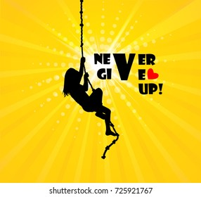 The girl climbs the rope. Never give up. Vector