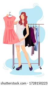 Girl With Clothes Holds A Hanger With A Dress vector illustration from shopping collection. Flat cartoon illustration isolated on white