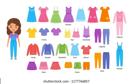 Girl clothes. Vector clothing. Cartoon female character paper doll with casual cloths set isolated on white background. Illustration of children dresses, pants, skirts, shorts, knitwear, blouse.