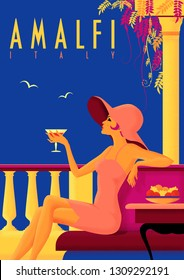 Girl with a cocktail on vacation on the Amalfi coast. Vintage poster. Handmade drawing vector illustration. Art Deco style with grunge effect.