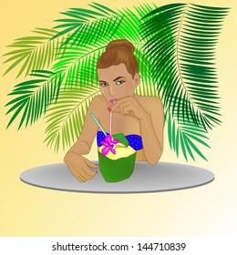 Girl, Cocktail, Palm.Vector Illustration