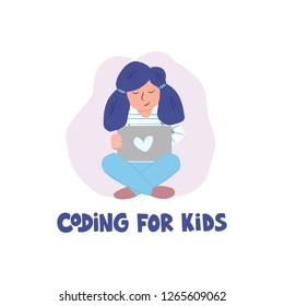 Girl coding behind the laptop. Children programming concept. Hand drawn lettering - Coding for kids. Design for coding school, class, camp. Vector illustration isolated on white background