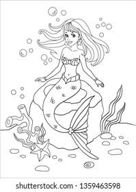 Cute Unicorn Mermaid Coloring Page Cartoon Illustration. Stock ... | 280x199