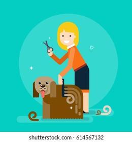 Girl combing a dog. Dog grooming. Vector flat illustration.