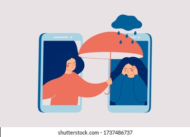 Girl comforts her sad friend over the phone. Woman consoles and cares about girl with psychological problems. Concept of support and aid for people under stress and depression over online services.