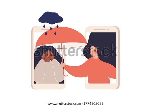Girl comforts her sad friend over the phone. Woman supports female with psychological problems. Online therapy and counselling for people under stress and depression over online services. Vector