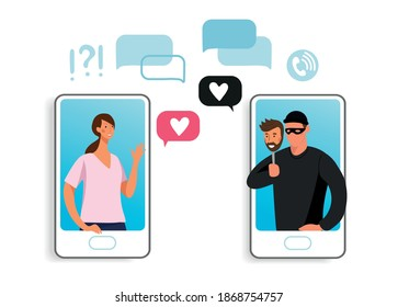 The girl communicates on the phone with a scammer. Concept illustration of online fraud, online dating, cybercrime. Cartoon illustration isolated on white.