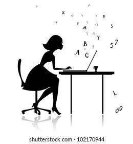 Girl at the computer prints