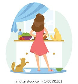 Girl is cooking in the kitchen whis her cats. Home scene with woman and her pets. Lonely pet owner. Back view. Colorful vector illustration in flat cartoon style.