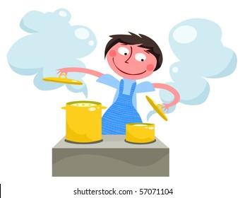 Girl cooking - vector