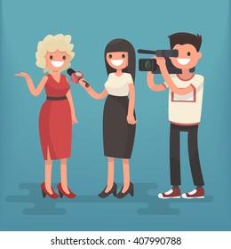 Girl correspondent interviews the woman. Employment television journalist