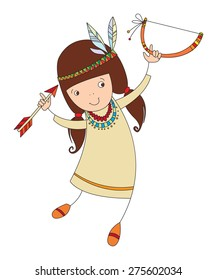 girl in costume of northern Indian with bow and arrow. vector illustration for your design, cosmetic banners, brochures and promotional items.