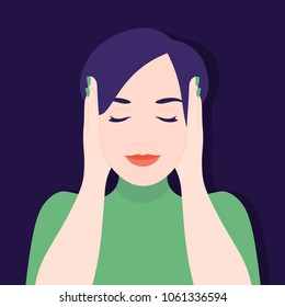 The girl covered her ears with her hands. Ignoring stress and noise. Vector Flat Illustration