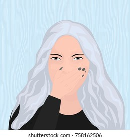 A girl covering her mouth with her hand trying to avoid belching vector illustration