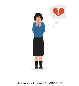 Girl covers her face and cries. Sad female character, bad emotions, broken heart, unhappy love. Flat vector illustration design.