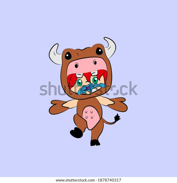 girl with cow costume. good use for sticker streetwear or t-shirt design