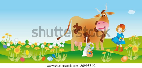 A girl and cow find easter eggs