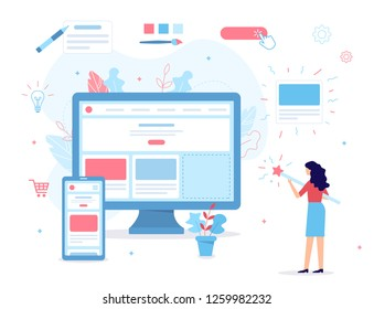 The girl creates her own website. She's holding a magic wand. Website builder concept. Web development. Flat vector illustration.