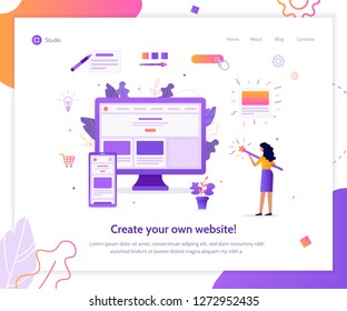 The girl creates her own website. She's holding a magic wand. Web banner design template. Flat vector illustration.
