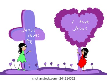 Girl with cross and tree .Jesus loves me-Vector illustration
