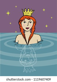 A girl with crown taking a bath sketch. Editable Clip Art.
