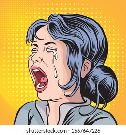 The girl is crying a lot.Pop art retro vector illustration