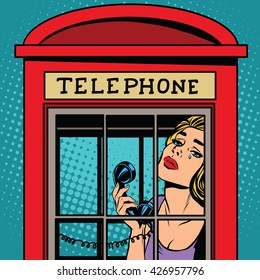 girl crying in the red telephone booth retro