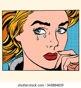 Girl crying woman face. Pop art retro style. Caucasian people coarsely face image. Human emotions