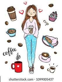 Girl with a cup of coffee. Coffee to go. Vector illustration in hand-drawn style