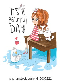 Girl and cute animals. it's a beautiful day slogan.