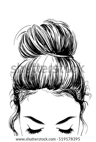 girl cute bun hairstyles stock vector royalty free 519578395