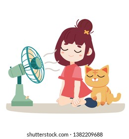 a girl and cute cat feel hot. They are sitting in front of the fan. Illustration about how to relieve the heat.