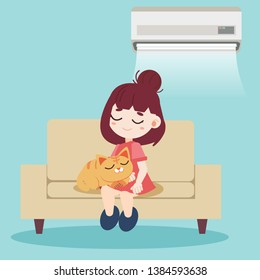 A girl and cute cat sitting together on the modern sofa and have air conditioner on the wall. They napping look so relax. Home pet on chair in flat vector style