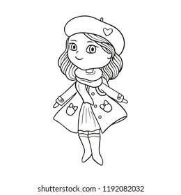 Girl cute doodle vector black outline drawing on white background fashion illustration, little female wearing trench, boots, beret, kids clothing, cheerful smiling face, standing, for coloring book.