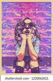Girl In Cyberpunk Dark Round Glasses And Glitch Abstract Background. vector illustration