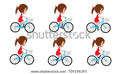 Girl Cycling By Frame By Frame Stock Vector (Royalty Free) 709196395 ...
