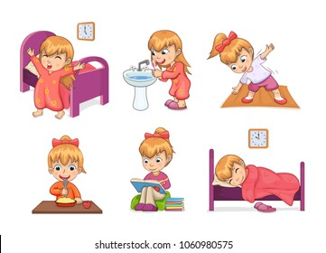 Girl and daily routine collection, waking up, brushing teeth, stretching and eating, studying and sleeping, daily routine set vector illustration