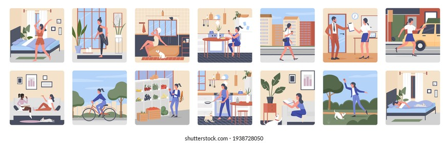 Girl daily routine set, everyday life scenes of young woman sleeping cooking working