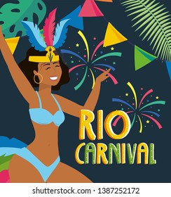 girl dancer with fireworks to rio carnival