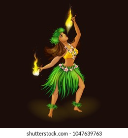 Girl dancer in Hawaiian folk clothes with torches for fiery dance. Hula Dance and Fire Show. Holidays in the Hawaiian Islands. Vector illustration. Character in the cartoon style.