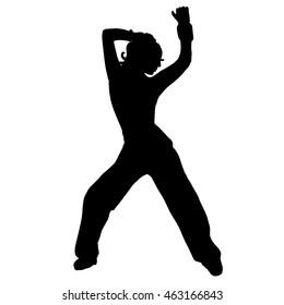 The girl is dancing. Belly dancing. Silhouette. street dance, go go dance