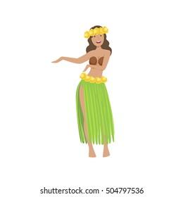 Girl Dancing Hula Hawaiian Vacation Classic Symbol